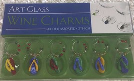 Art Glass Wine Charms NEW NIP Set Of 6 Assorted Multicolored Flip Flops ... - $12.19