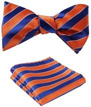 BIYINI Men's Stripe Jacquard Woven Wedding Party Self Bow Tie Set Orange / Blue - $24.12