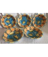 """Emerald Collection 8"""" Blue& Peach PEAR Fruit Flower Pattern SET OF 5 Dee... - $44.99"""