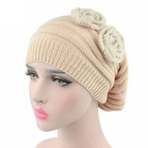 Solid Flower Knitted Beanie Hat For Women LadiesHat Beanies 2017 New Arr... - $18.50