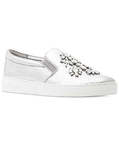 Michael Kors MK Frankie Striped Leather Sneakers (7.5, Silver)