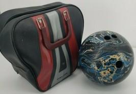 Vintage Ebonite Satellite Bowling Ball 13.5 Lbs with Ranger Bowling Bag - $93.46