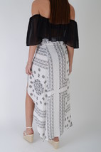 Lovemystyle White Printed Maxi Skirt With Split Front - $14.99