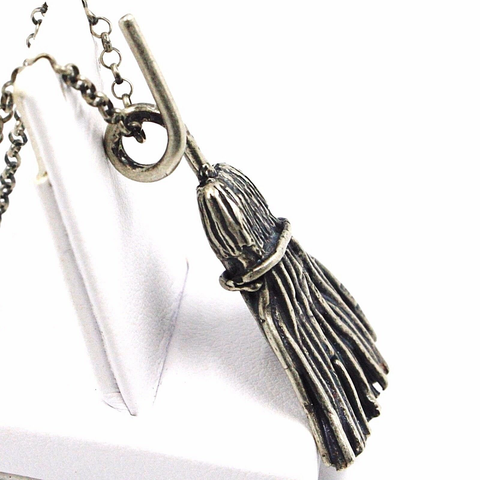 Necklace and Pendant, Silver 925, Burnished Satin, Broom, Witch, Rolo Chain