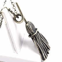 Necklace and Pendant, Silver 925, Burnished Satin, Broom, Witch, Rolo Chain - $140.50