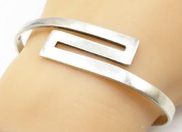 ISRAEL 925 Silver - Vintage Smooth Zig-Zag Designed Cuff Bracelet - B5049 - $64.68