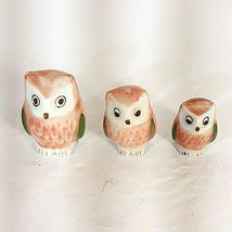 Vtg Lot of 3 Small Ceramic Owls Oriental Style Pink White Mini Decor - $9.95