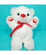 Teddy Bear White Valentines Plush Red Nose Bow Heart Paws Stuffed Animal... - $17.81