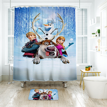 Cartoon 18 Shower Curtain Waterproof Polyester Fabric & Bath Mat For Bat... - $16.30+