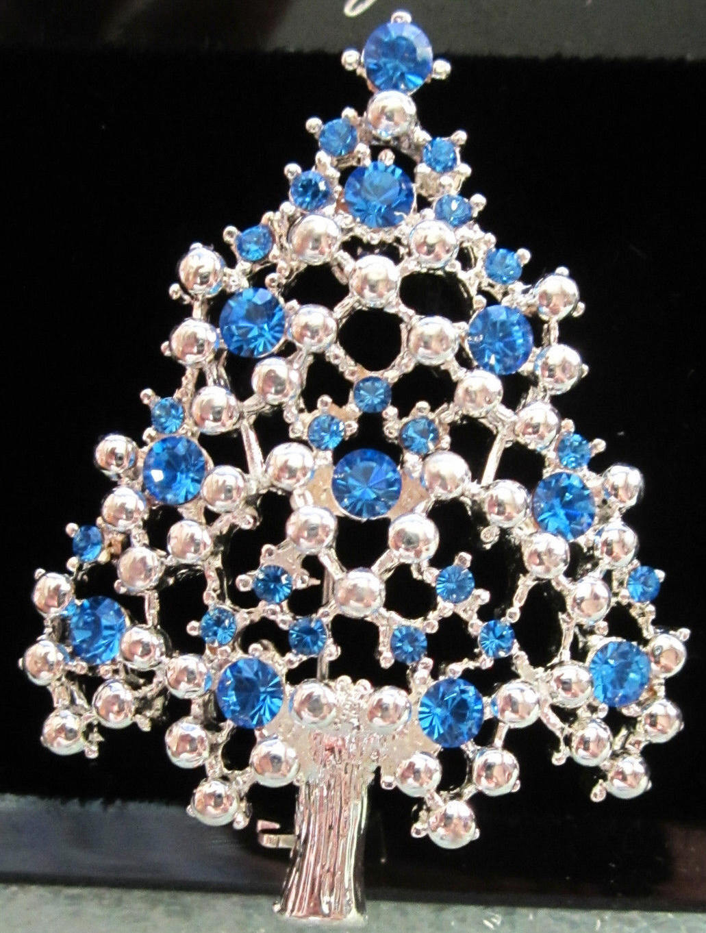 Primary image for Vintage EISENBERG ICE Blue Rhinestone and Silver Tone CHRISTMAS Tree BROOCH PIN