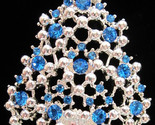 Vintage EISENBERG ICE Blue Rhinestone and Silver Tone CHRISTMAS Tree BROOCH PIN
