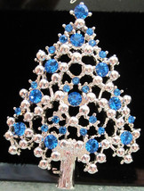 Vintage EISENBERG ICE Blue Rhinestone and Silver Tone CHRISTMAS Tree BRO... - $49.95