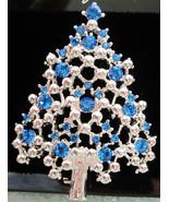 Vintage EISENBERG ICE Blue Rhinestone and Silver Tone CHRISTMAS Tree BRO... - $49.95