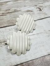 Vintage Clip On Earrings Cream Striped Metal Flower - $9.99
