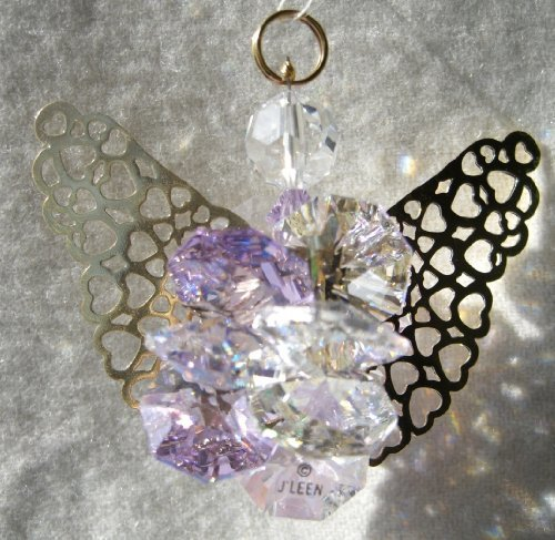 J'Leen Clear and Violet Suncluster Angel Crystal Ornament