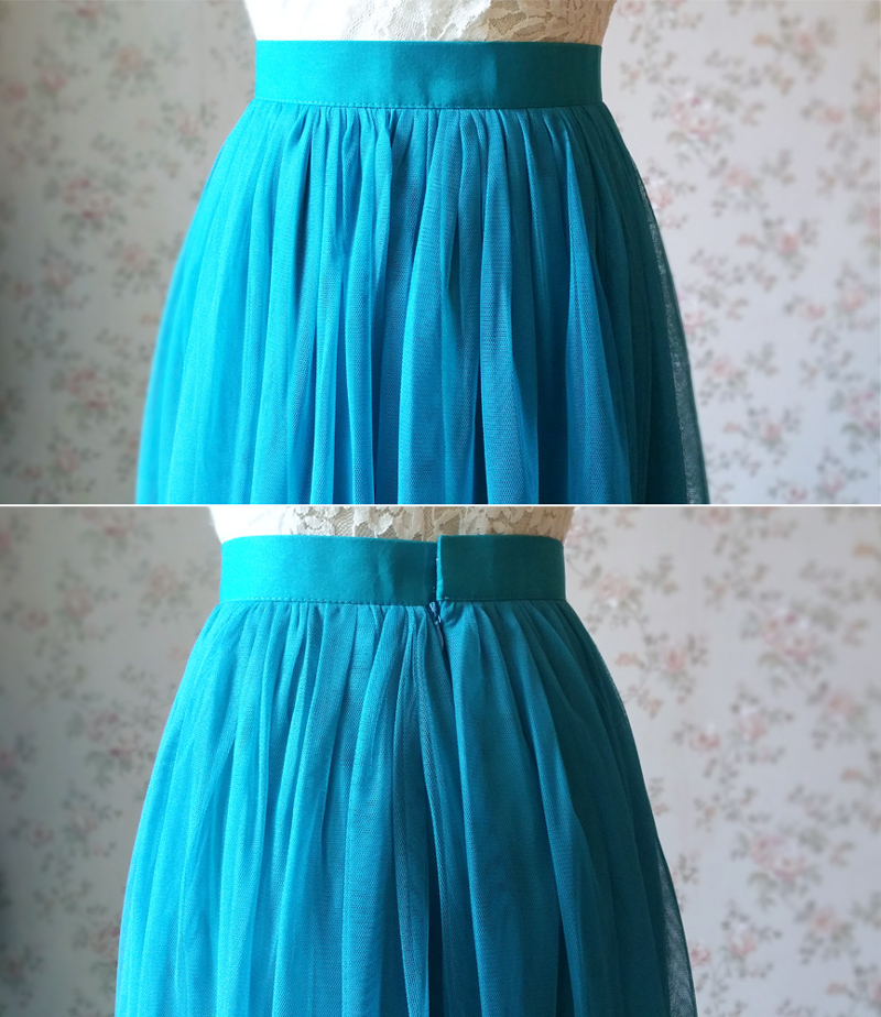 Blue Casual Wedding Skirt A Line Long Tulle Blue Bridesmaid Skirt Plus Size