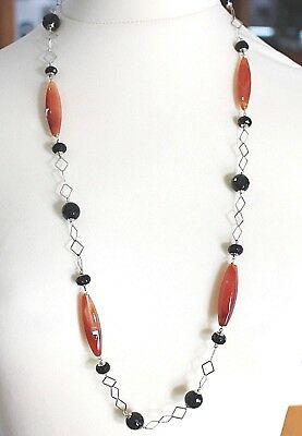 Collar Plata 925 , Ágata Roja , Ónix Negro, Larga 80 cm, Cadena Cuadrada