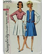 Vintage 1960s Simplicity Sewing Pattern 5931 Shirt Skirt Jacket Dress Sz... - $16.19