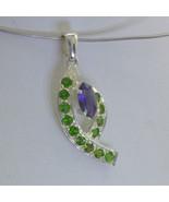 Pendant Blue Iolite Green Chrome Diopside Gemstone Handmade Silver Desig... - $101.65