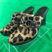 Cole Haan Womens Shoes Platform Wedge Leather Animal Hair Leopard Print ... - $33.22