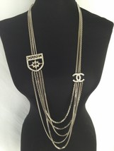 100% Authentic Chanel Crystal CC Crest RUNWAY Multi Layer Long Necklace ... - $988.00