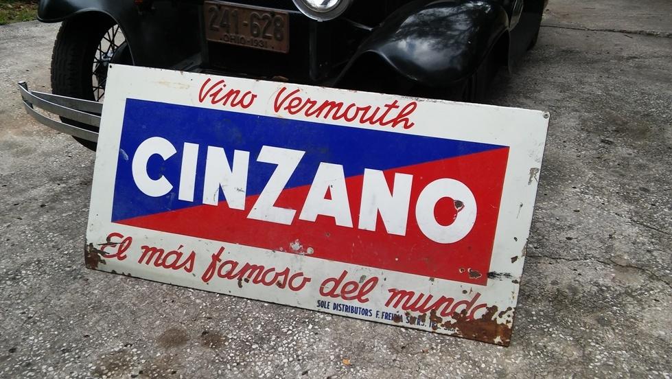 Antique Large Heavy Metal Porcelain CINZANO Sign c. 1935-49