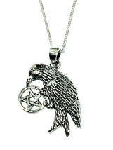 Corbeau Pentacle Pendentif 925 Argent Sterling Sorcière Amulette Chain 4... - $59.26