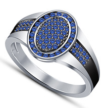 14k White Gold Over 925 Sterling Solid Silver Mens Blue Sapphire Engagement Ring - $94.99