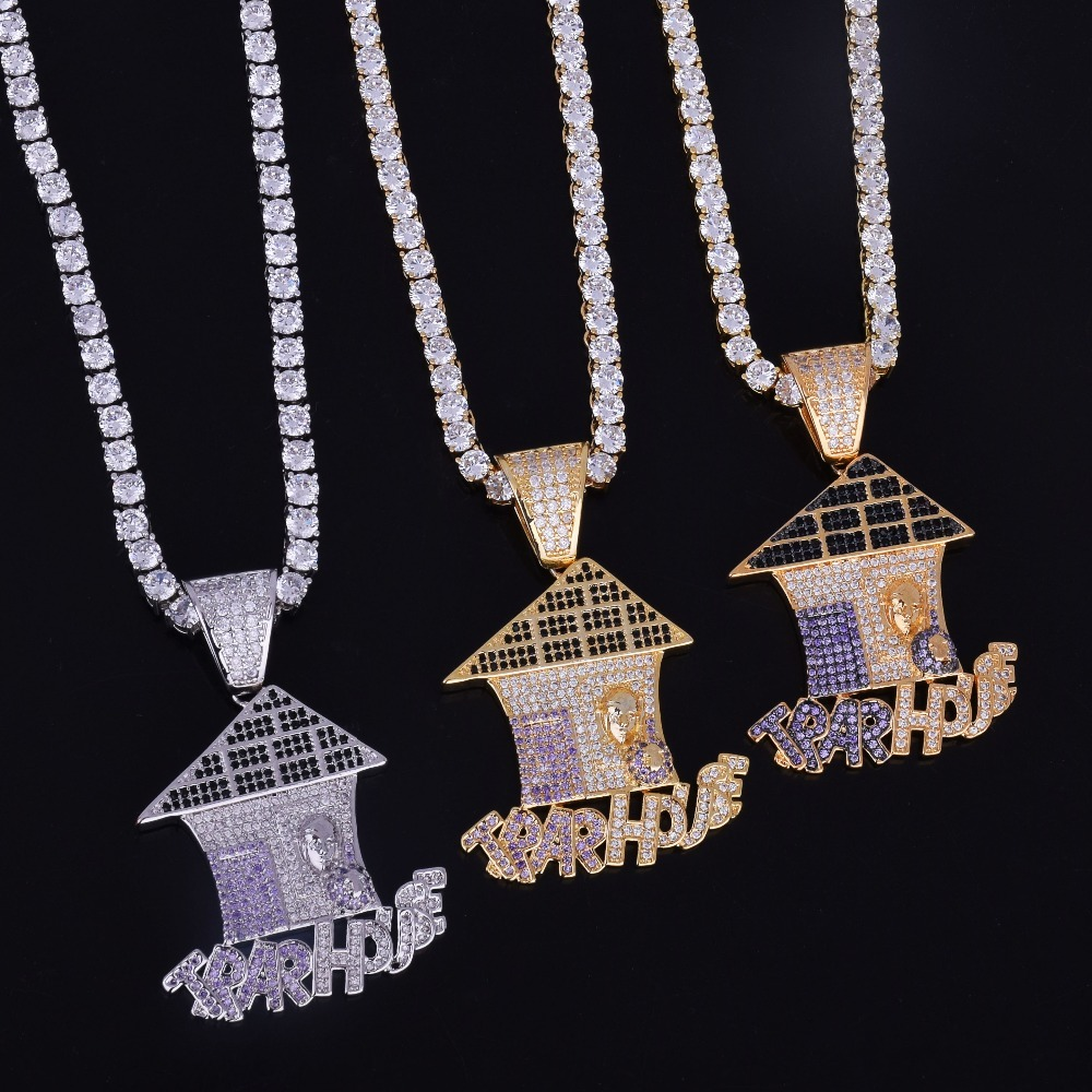 """Gold Plated Mini Jesus Piece 1.5/"""" with crystals 30 inch ball chain High Quality"""