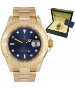 MINT Men's Rolex Yacht-Master Blue 18K Yellow Gold 40mm Oyster Date Watc... - $15,993.51