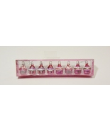 Set of 8 Decorated Cupcake Christmas Ornaments Place Card Holders Glass - $12.99