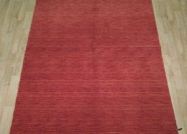 5' x 7' Shades of Red Soft Modern Red Gabbeh Wool Hand-Knotted Rug image 12