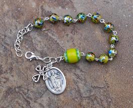 Silver - St Nicholas - 8mm Yellow Glass One Decade Catholic Rosary Bracelet - $7.99