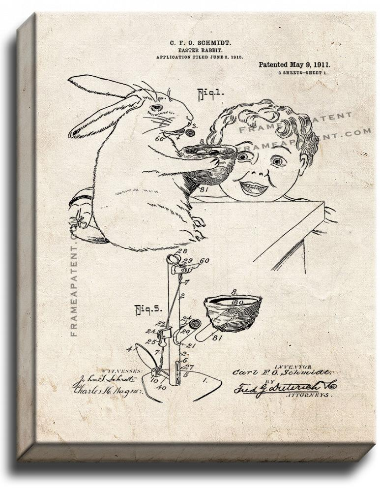 Primary image for Easter Rabbit Patent Print Old Look on Canvas