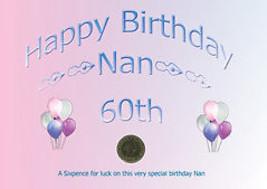Pièce de 6 Pence Pour Chance 60 ème Anniversaire Nan 1954 - $12.02
