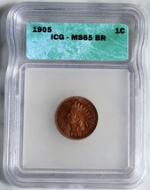 1905 One Cent Indian Head Penny MS65 BR Coin Lot # SR 524