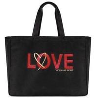 Nwt 2018 Victoria's Secret Love Sequin Tote Weekender Bag Black, Gold & Red - $22.76