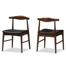 2x Elbow Style Dining Chairs Danish Mid-Century Mod Dark Walnut Solid Wo... - $254.97