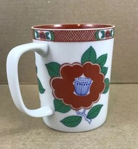 Fitz and Floyd Variations Small Coffee Cup Mug  Red Flowers Porcelain 1979 - $13.71