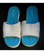 Champion Womens 7 1/2 White Turquoise Slip Ons Slides Sandals - $12.53
