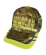 Michigan Window Shade Font Men's Adjustable Baseball Cap (Camo/Gold) - $12.95