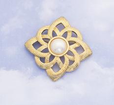 Vintage Mandala Floral Faux Pearl Brooch By Avon H4 - $29.99