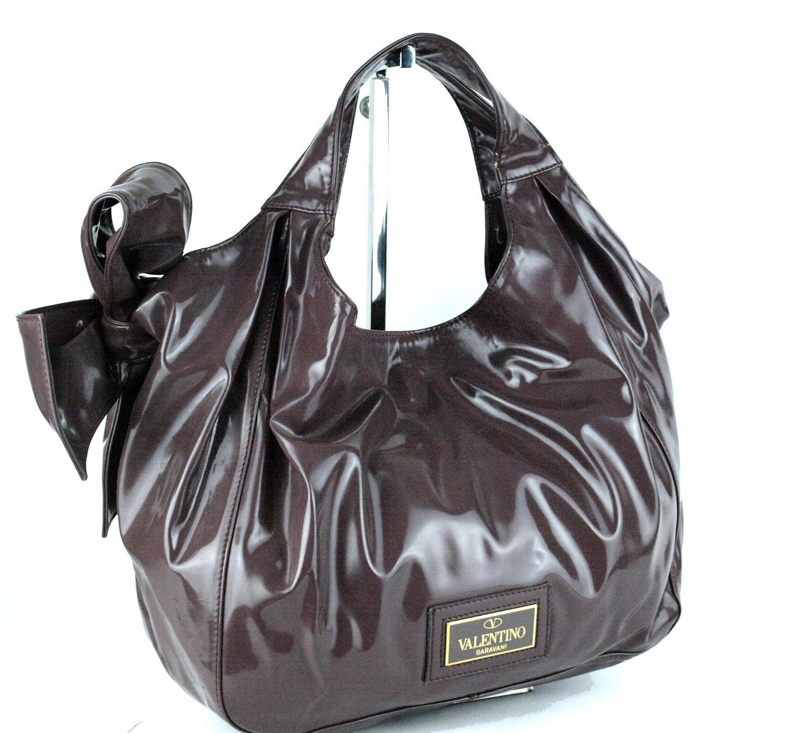 Primary image for Authentic Valentino Garavani Chocolate Brown PVC Canvas Hand Bag Italy