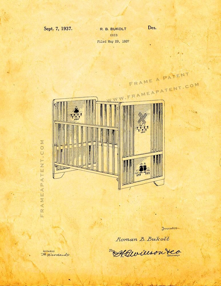 Primary image for Crib Patent Print - Golden Look