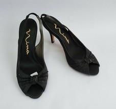 Nina Shoes Heels Black Fabric Sequin Peep Toe Flo Womens Size US 6.5 M EU 36.5 - $49.45
