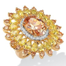 PalmBeach Jewelry 19.48 TCW Yellow and White CZ Cluster Ring 14k Gold-Plated - $22.18