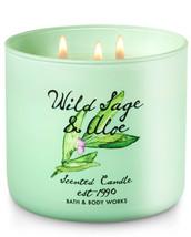 BATH & BODYWORKS Wild Sage & Aloe 14.5 OuncesThree Wick Candle - $25.63
