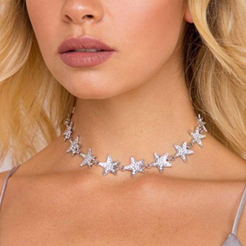Trendy Fashions Rhinestone Star Choker Necklace Lobster Claw Closure Alloy Metal