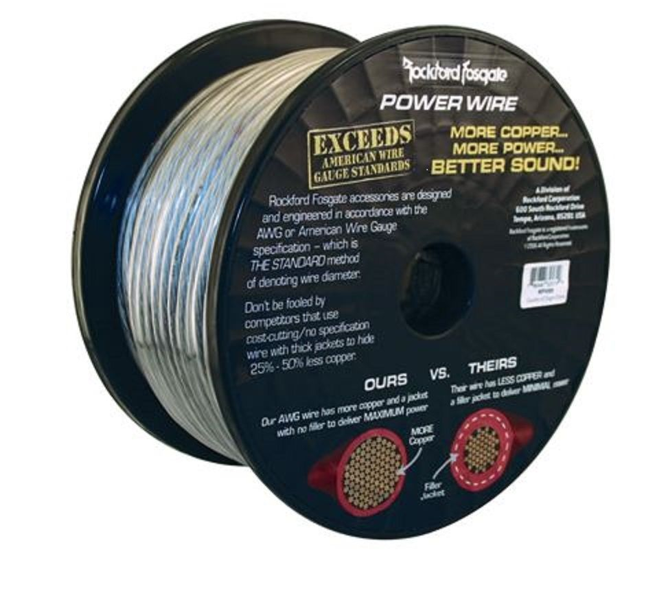 Rockford Fosgate rfw8s  8 gauge gauge power wire 20  feet cut off roll
