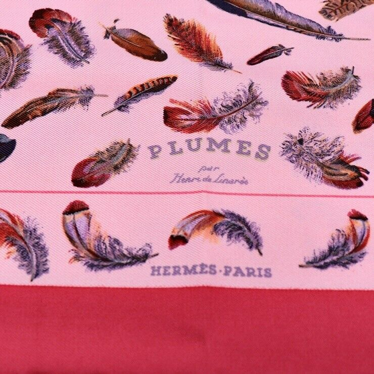 Hermes Carre 40 Puchikare PLUMES Pruem feather silk pink apparel Auth